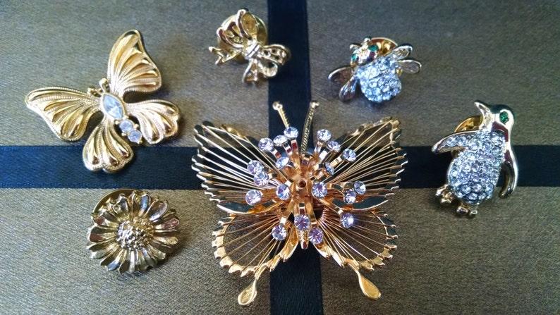 d9e65526043c Lote de 6 alfileres de diamantes de imitación dorado Vintage