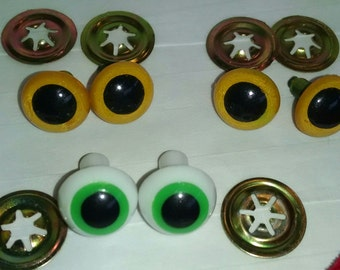 Vintage Eyes 3 Pairs NOS Plastic for Crafty Projects Bear Making Stuffed Animals * New Old Stock *