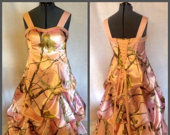 Pink CAMO Wedding Dress,  Camo Prom Dress