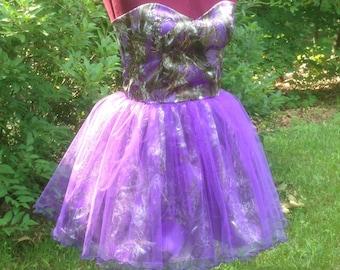 Purple Camo Dress Sweetheart neckline with Tulle overlay skirt Size12