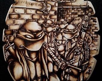Pyrography Art of the Original Teenage Mutant Ninja Turtles!!! Wood Burning of the TMNT!