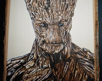 Pyrography of Groot! Wood Burning Art of Groot from Guardians of the Galaxy!
