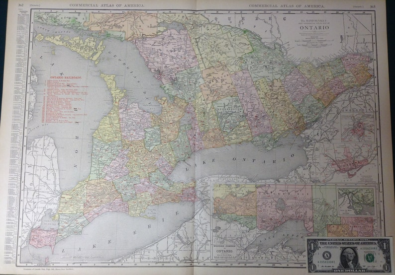 Map Of Canada Toronto Ontario.1917 Xl Antique Map Of Ontario Province Canada Toronto Great Lakes Lake Superior Commercial Size 28 5x20 5 Map With Fine Details