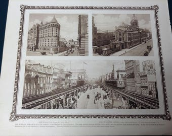 Vintage New York City Print (The Bowery, Chinatown)-NYC-12x10 Beautiful Antique Rotogravure Print. Fine detail with ornate border.