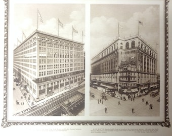 Vintage New York City Print (Macy's, Gimbel Brothers)-NYC-12x10 Beautiful Antique Rotogravure Print. Fine detail with ornate border.