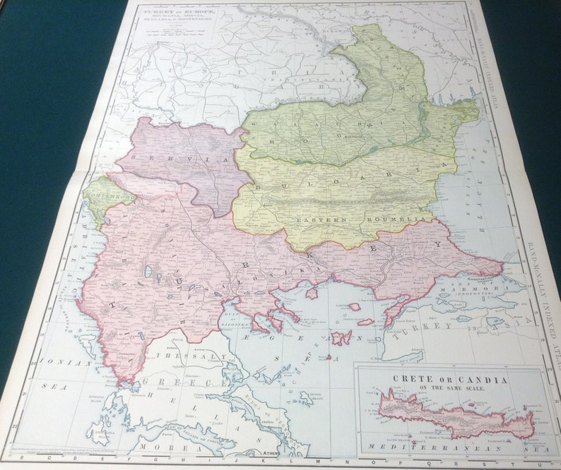 1908 Antique Map Of Turkey In Europe Serbia Montenegro Etsy