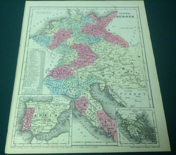 1850 Antique Map of Central Europe - Italy, Spain, Prussia, Austria,  Greece, Baltic Sea - Very Rare Early hand colored from Smith\'s Atlas.