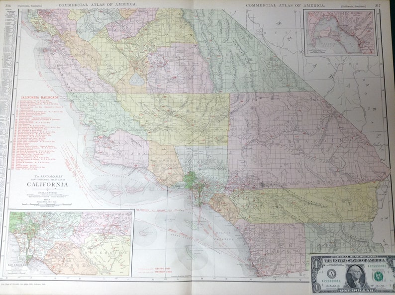 Map Of California Los Angeles.1917 Xl Antique Map Of Southern California Los Angeles San Diego Commercial Size 28x20 5 Map With Nice Color And Fine Detail