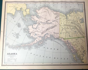 Rare 1888 Alaska Antique Map. Detailed colored map (13.5 x 11) (Anchorage, Juneau, Sitka, Bering Sea, Nome, Dutch Harbor)
