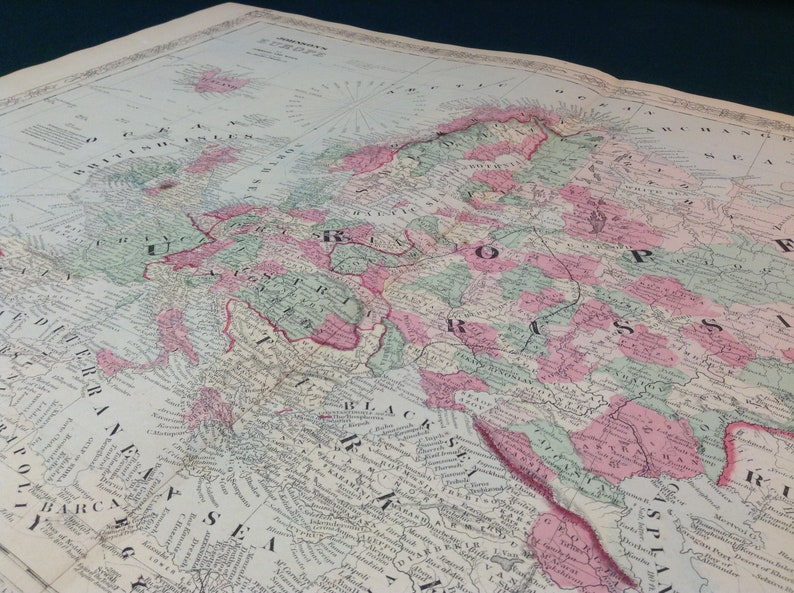 Map Of France N Italy.1860 S Antique Map Of Europe France Germany Italy Greece Iceland Ireland And England Xtra Large 26x18 With Fine Detail