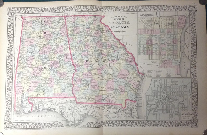 Map Of Georgia Alabama.1874 Antique Map Of Georgia Alabama W Large Insets Of Savannah And Atlanta Large Hand Colored 23x15 Map With Elaborate Floral Border