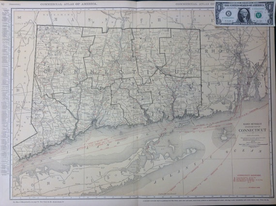 1922 XL Antique Map of Connecticut (Greenwich, Hartford, Montauk) - Xtra  Large (Commercial size-28x20.5) w/ nice Tan color and fine details.