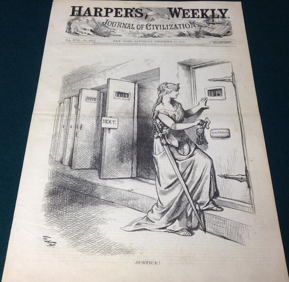 Thomas Nast Lady Justice Political Satire Boss Tweed Americana Woodblock Print Harper S Weekly December 13th 1873 Issue