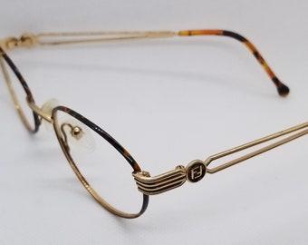 50d2b5a031a0 Vintage Fendi Gold Plated Eyeglasses Frames Mod F45 NO LENSES