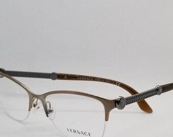 68c3fc91da7 Vintage New Old Stock Versace Bronze Semi Rimless Eyeglasses Frames Mod 1228