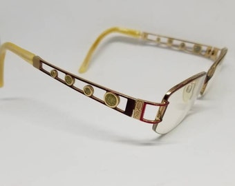 c3c5e5745556 Rare Vintage Cazal Gold tone Red Eyeglasses Frames RX LENSES