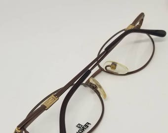 7c66d673baac Vintage New Old Stock Fendi Chocolate Brown and Gold tone Eyeglasses Frames  Mod.VL7196 DEMO LENSES