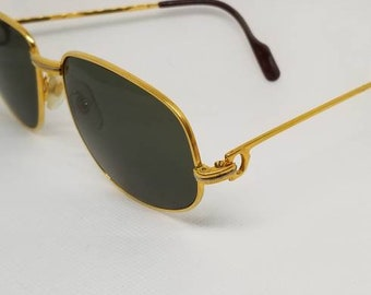 931572c858c4d Vintage 1980s Cartier Romance Trinity Gold Sunglasses with New Dark Green  LENSES