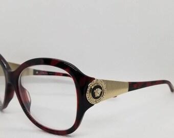 f2f29dbb42 Vintage Versace Eyeglasses Frames Tortoise Gold Crystal Mod 4737-B RX LENSES