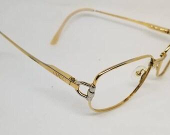 48ffdcc42890 Vintage 80s Gucci Gold Eyeglasses Frames Mod GG2279