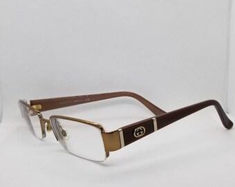 6a53294b1ce Vintage Gucci Copper Semi Rimless Eyeglasses Frames RX LENSES