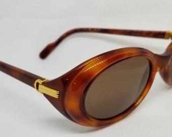 2799ffed7 Vintage 90s Cartier Acetate Gold Sunglasses with Original Case