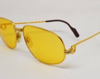 be6d90ce5a Vintage 80s Cartier Romance Trinity Gold Sunglasses with NEW Gold LENSES