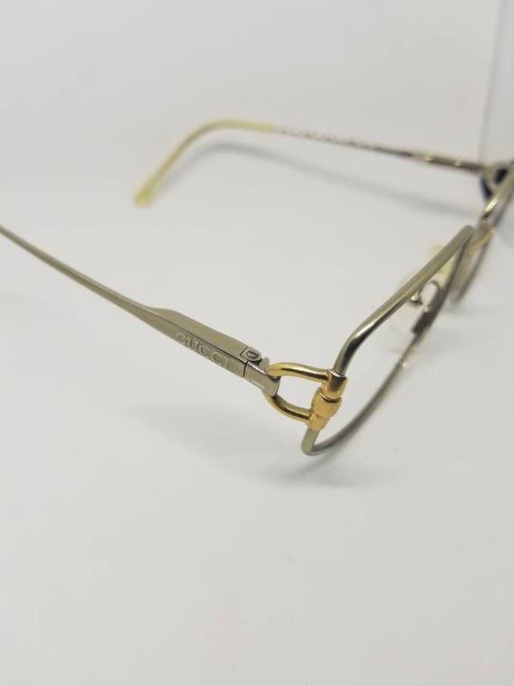2d57fa995e9 Vintage 80s Gucci Silver Gold Eyeglasses Frames Mod GG2279