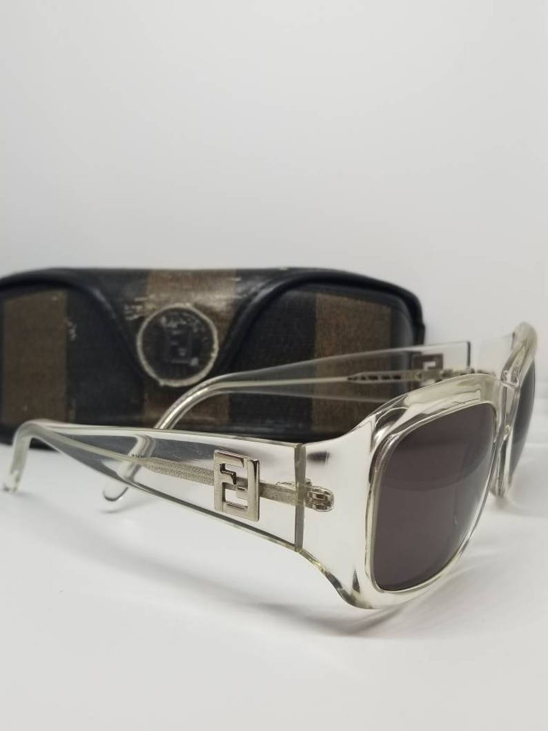 afff728753b2 RARE Vintage Fendi Clear Sunglasses Mod.SL7520 With Original