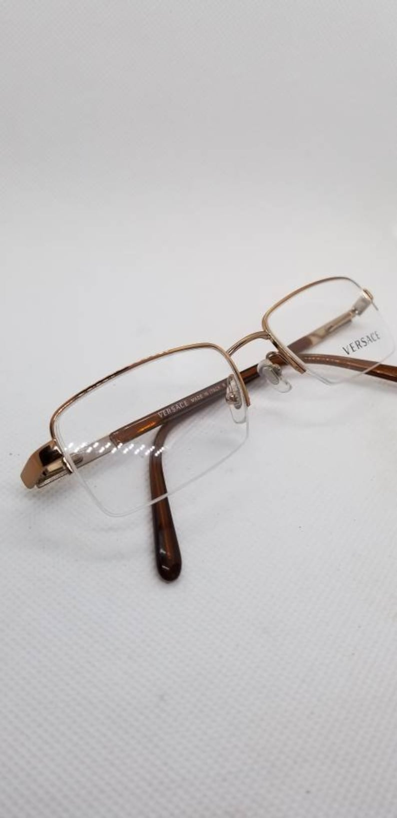 013abd418f49d Vintage New Old Stock Versace Light Bronze Semi Rimless