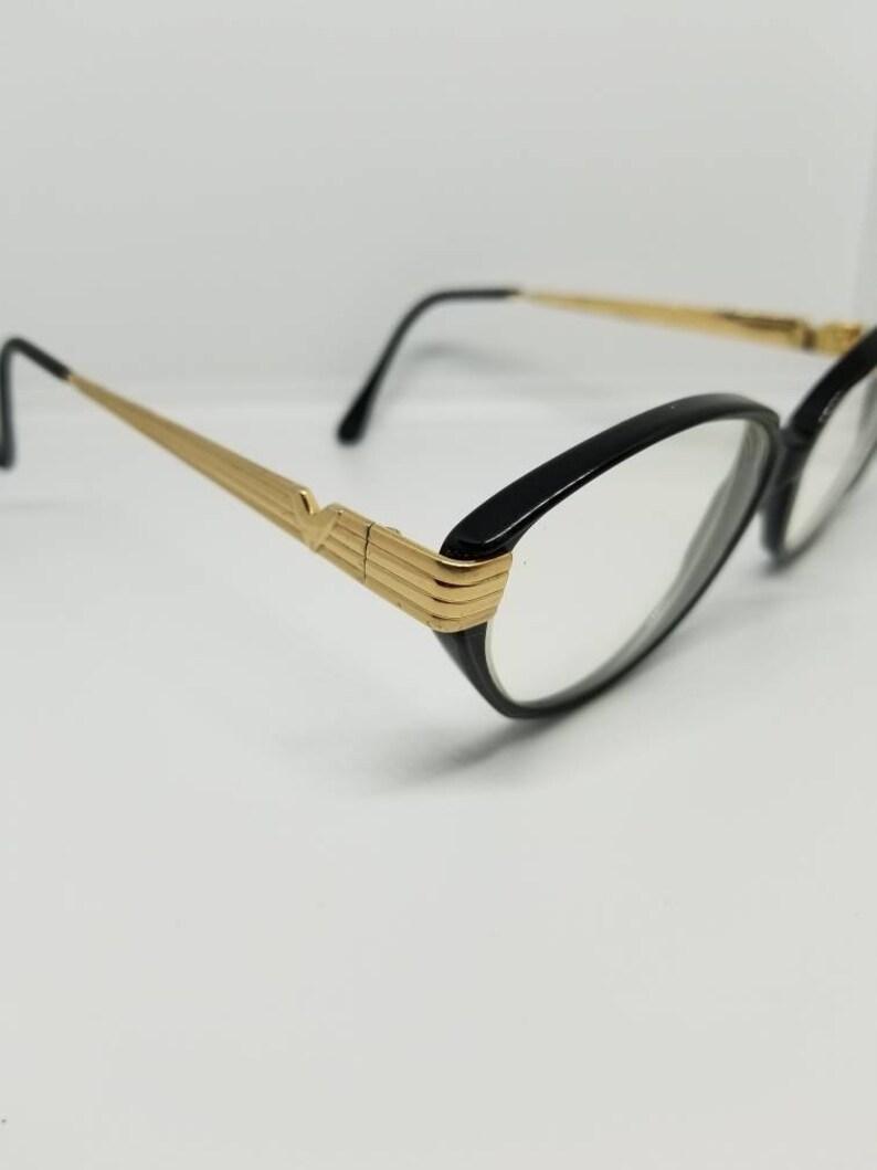 2524af8b7c4 Vintage Valentino Gold Black Eyeglasses Frames Mod V196 RX