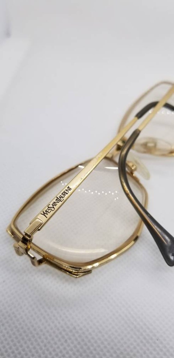 b3df184bb41 Vintage Yves Saint Laurent Gold Eyeglasses Frames Mod Y169 RX