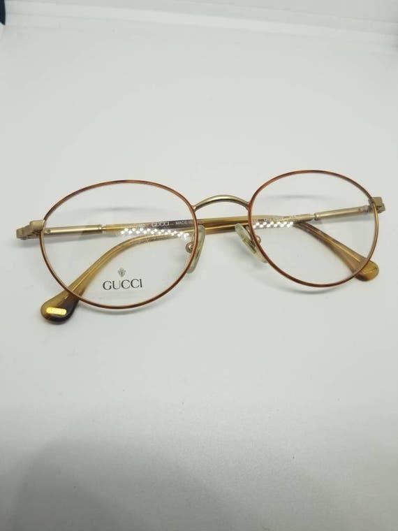 55b4bfaae47 Vintage Gucci Gold Eyeglasses Frames Mod GG 2609 DEMO LENSES