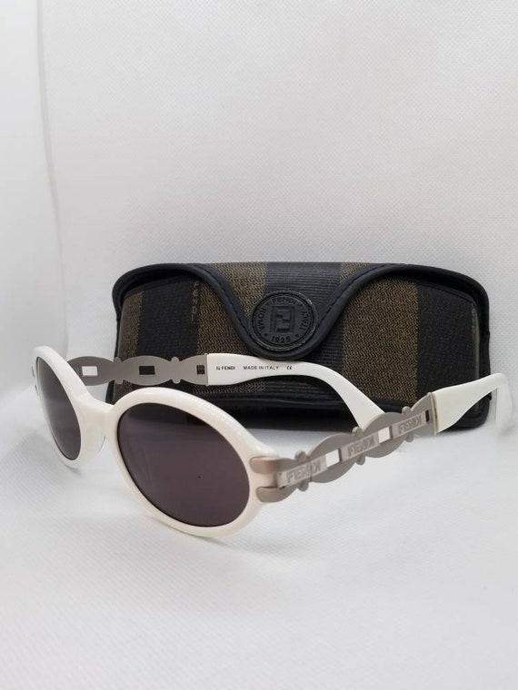 9e1cd9b892df Vintage Fendi White Sunglasses Mod. SL 7517 with Original