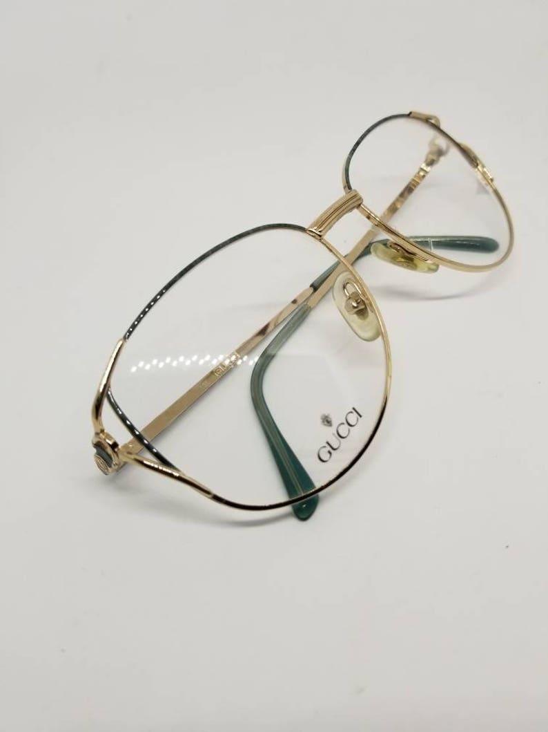 e2ee01783a1 Vintage 80s Gucci Gold Blue Marble Finish Eyeglasses Frames