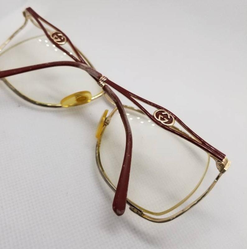 42c30bc0968 Vintage Gucci Burgundy Gold Semi Rimless Eyeglasses Frames Mod