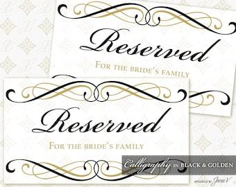 diy printable wedding reserved sign template printable etsy