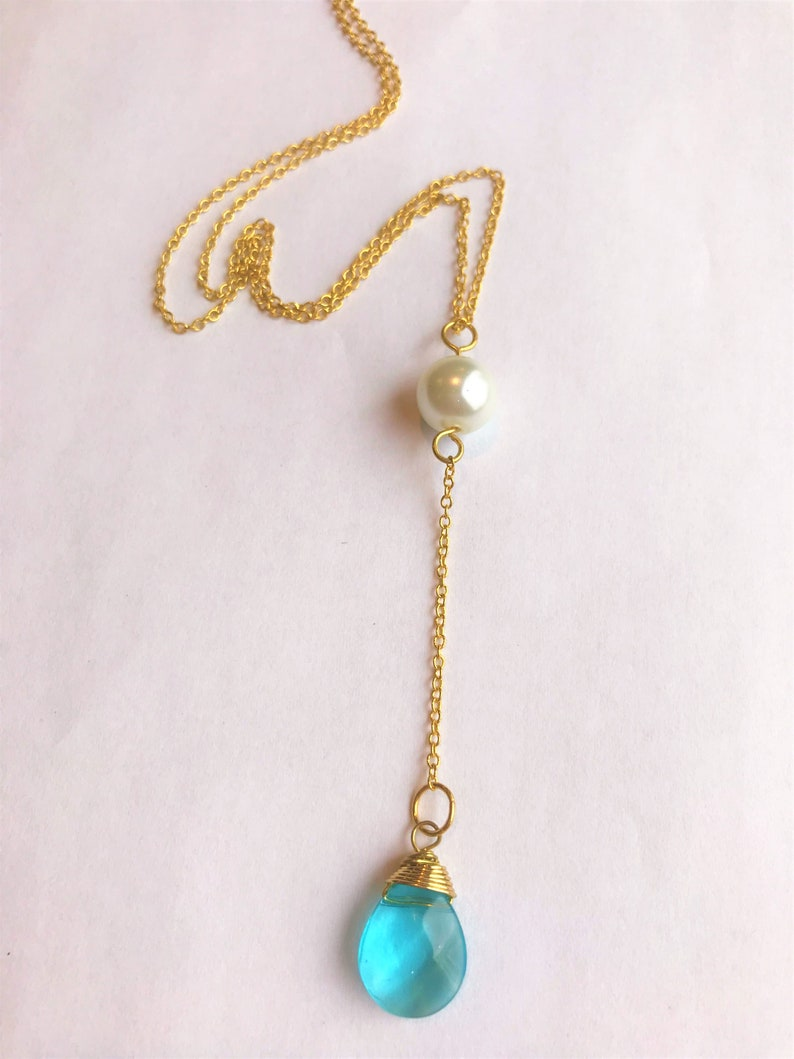 Blue Glass Stone /& Glass Pearl Y Lariat Gold Necklace