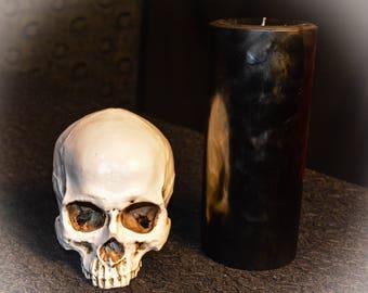 "4"" Wide x 9"" High Black Paraffin Pillar Candle"