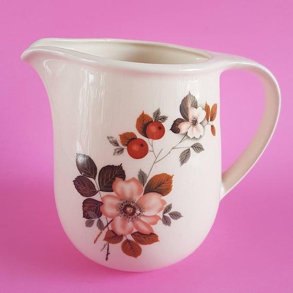 Vintage Jug Autumn Flowers Jug Soft Pink Flower Jug Etsy