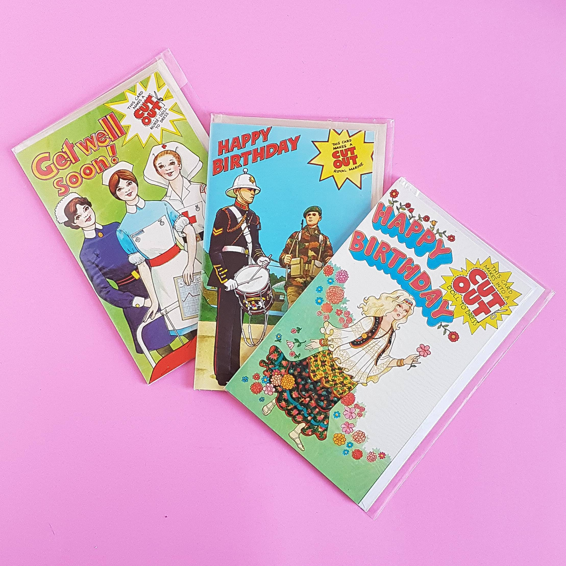 Vintage Greeting Cards From The 1970s Cut Out Doll