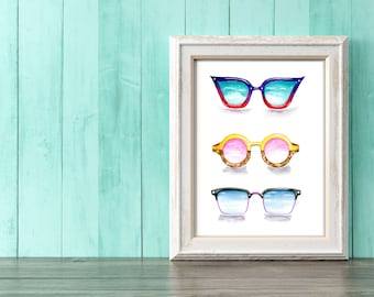 Watercolor Sunglasses Art Print