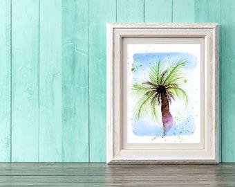 Watercolor Palm Tree Print