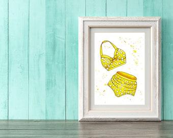 Yellow Polka Dot Bikini Art Print