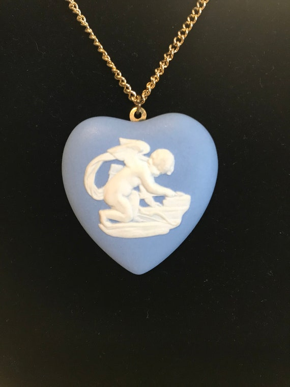 Wedgwood heart shaped Cupid necklace
