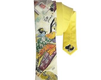 Japanese Geisha print Cotton Tie, Japanese Tie, Geisha Tie, Yellow Tie, Men's Neck Wear, Men's Designer Tie, Novelty Tie, Men's Accessory