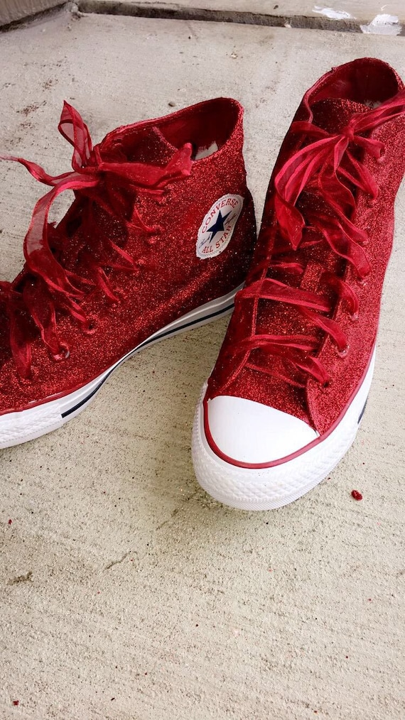 Red Glitter Shoes, 4th of July shoes, Valentine's Day Shoes, Glittered Shoes, Glitter Converse, Valentine's Converse, Custom Painted Shoes