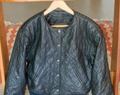 Awesome 80s 90s vintage quilted leather jacket Express
