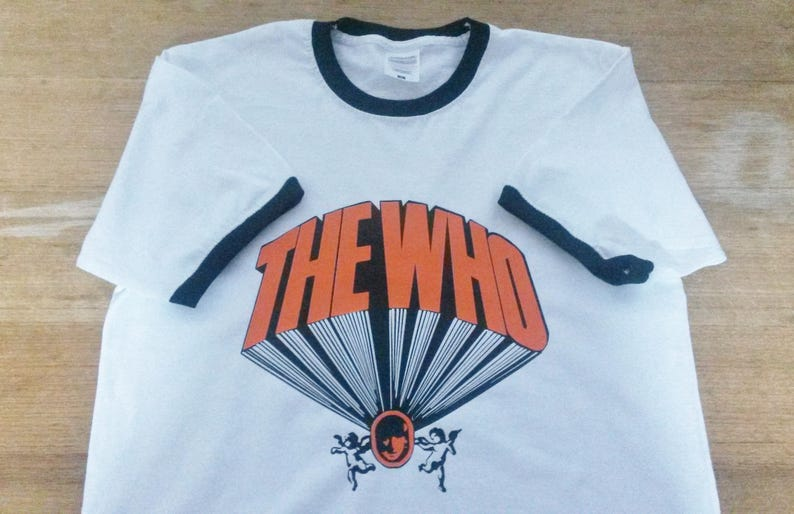 best loved dba2c 9e142 The Who Ringer T-Shirt Keith Moon Drum Kit Printed Rare Mod 60s Vintage  Tour Style LP Drums Album