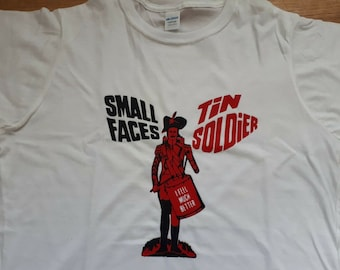 Small Faces Tin Soldier French Picture Sleeve Printed T-shirt Top. Rare Mod 60s Vintage Tour Style Steve Marriott Ronnie Lane Single